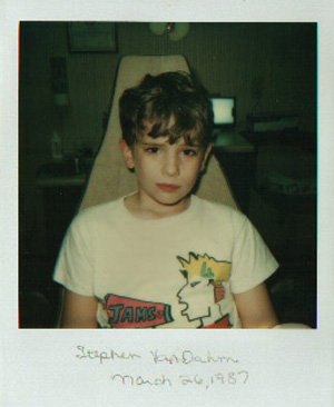 Polaroid photo taken at Dr. Bill Stewart's dentist office in 1987. I was in the No Cavity Club!